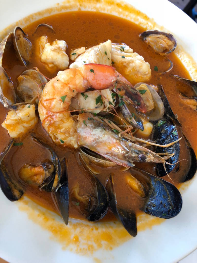 Seafood stew with shellfish-saffron broth at Tony's Seafood
