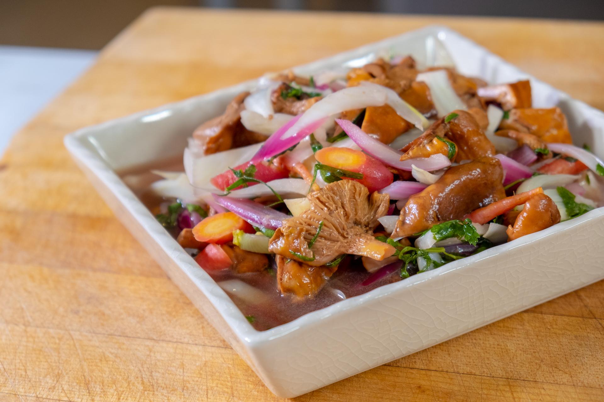 Traci Des Jardins's pickled mushrooms and spring vegetables