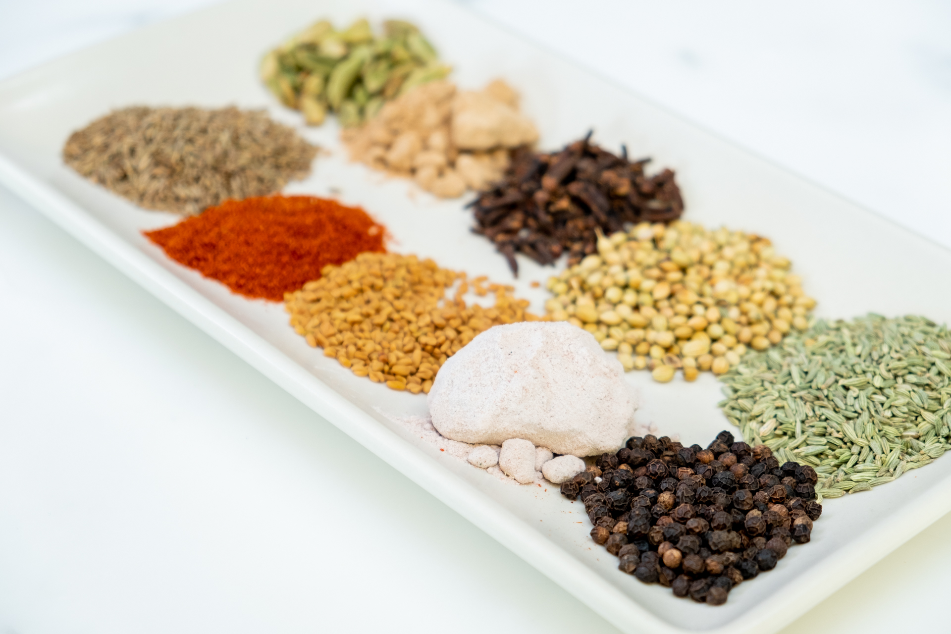 All of the ingredients for Chaat Masala