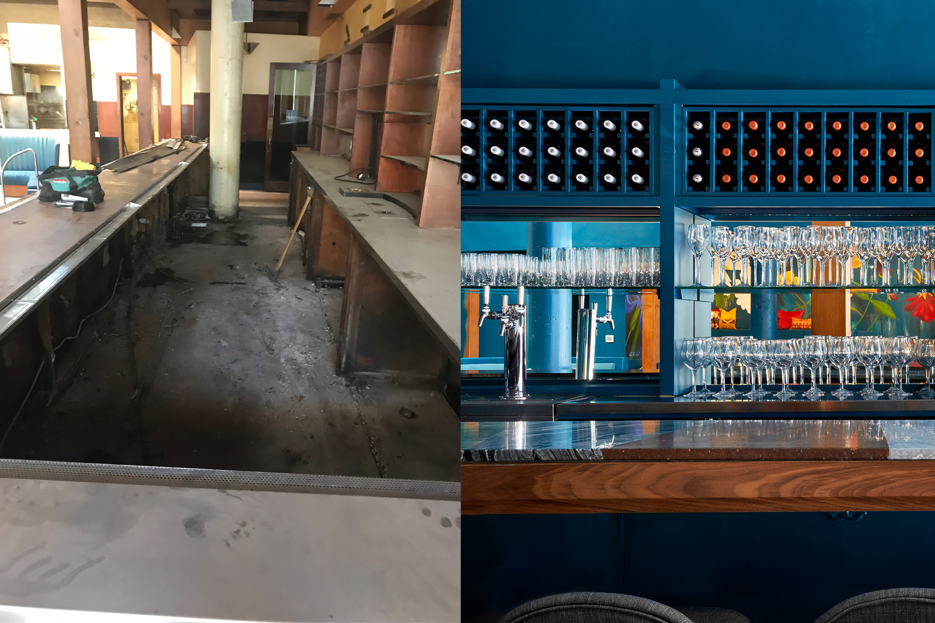The bar at Palette before and after renovations