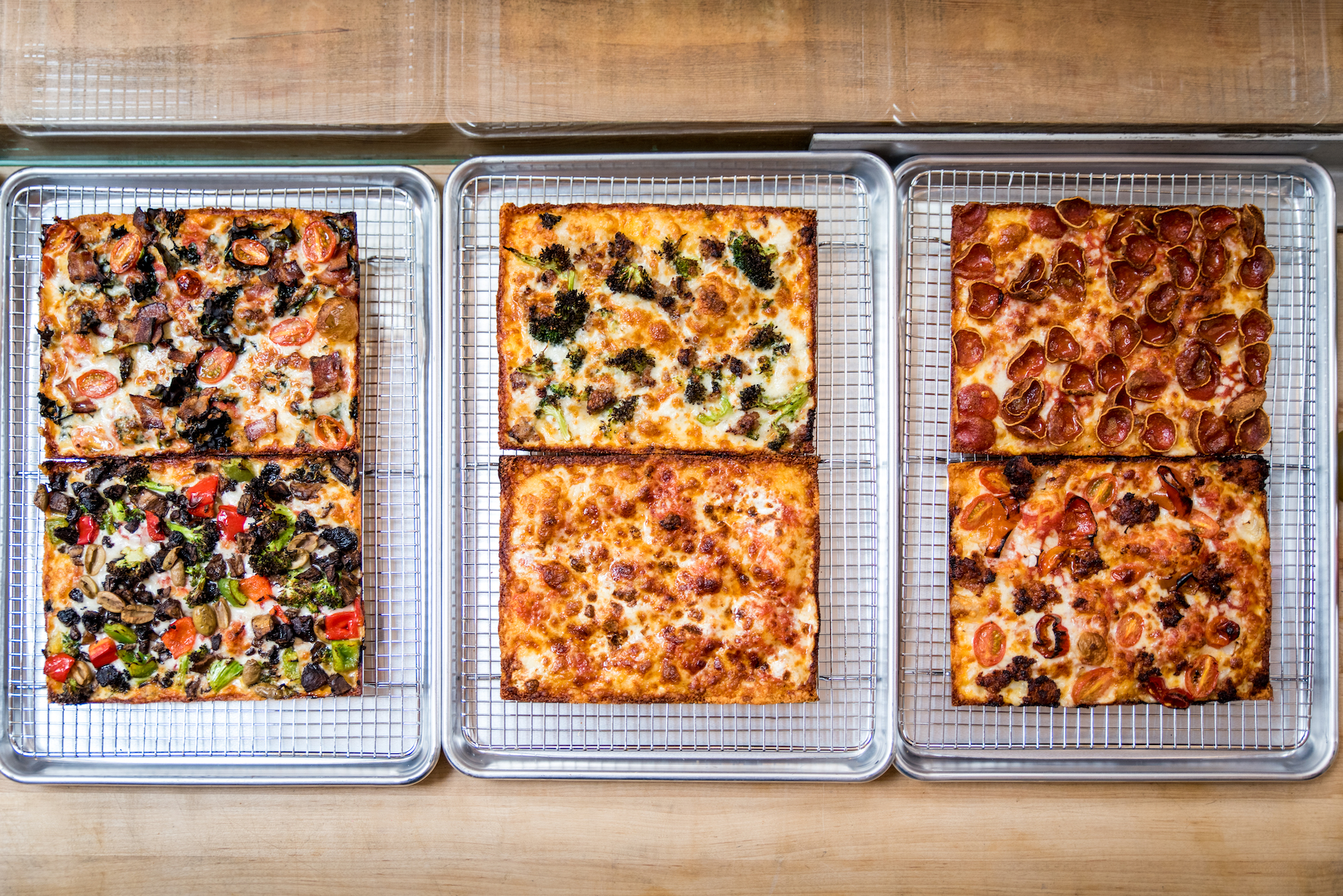 Pizza options at the new restaurant.