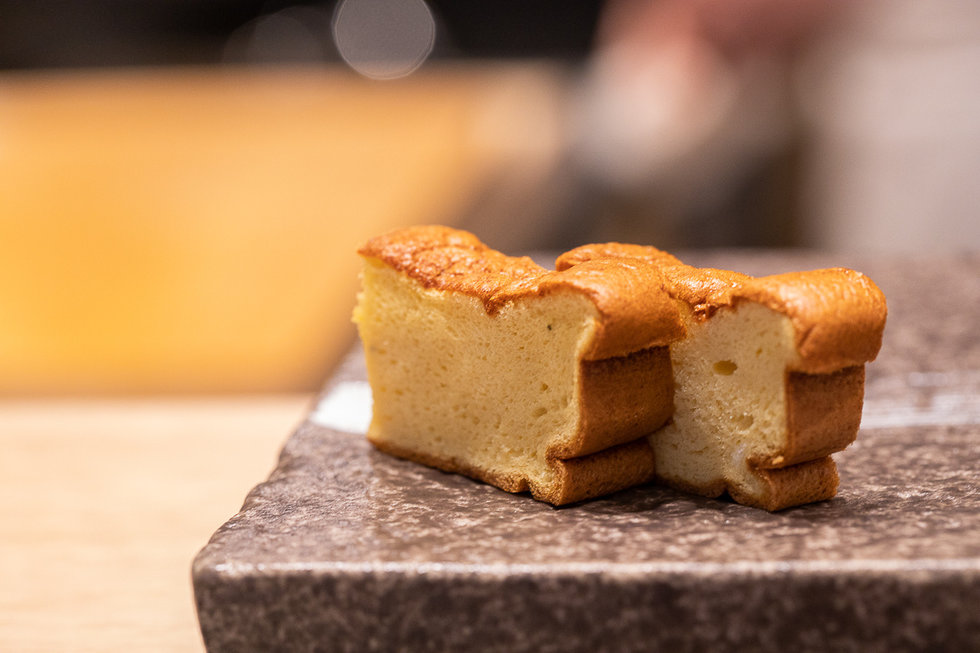 You've never had a sushi restaurant egg omelet like these. At Sushi Nagai, the tamago is light and silken, almost with the texture of a delicate bread. We asked for details about the preparation, but it's a secret too good for them to share.