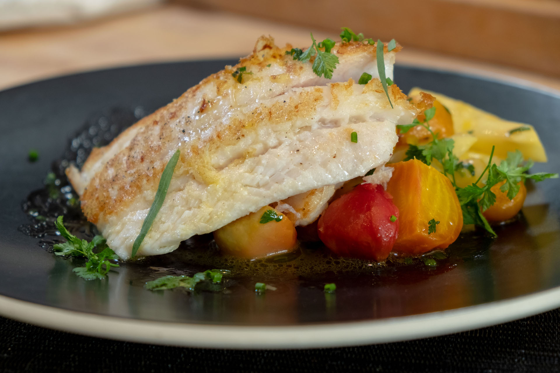 Traci Des Jardins's Petrale Sole with Braised Celery Root and Roasted Beets