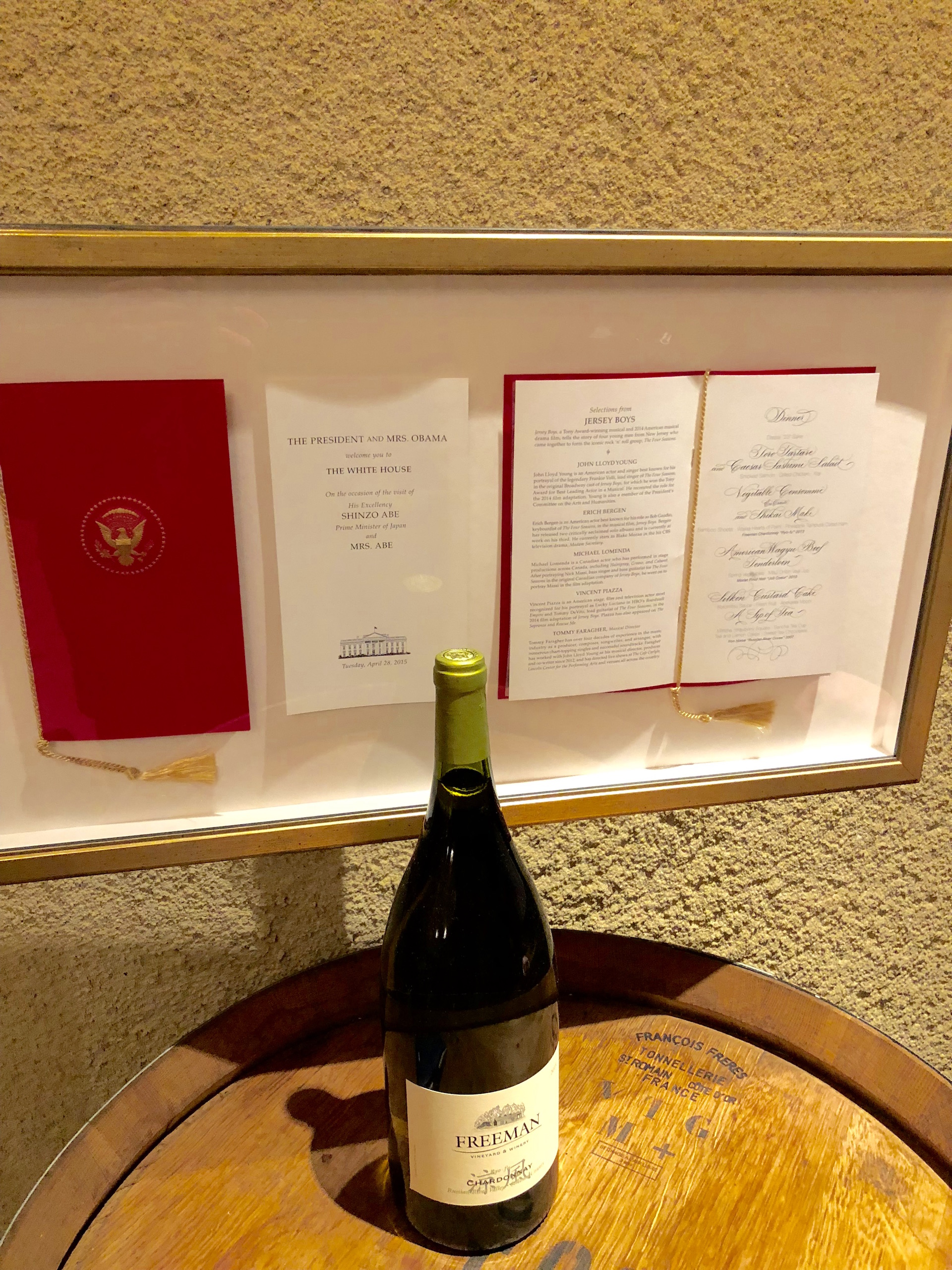 A copy of the entertainment program and menu from the 2015 White House dinner hosted by President Obama for Japanese Prime Minister Shinzo Abe, where Freeman Winery's Ryo-fu Chardonnay was served