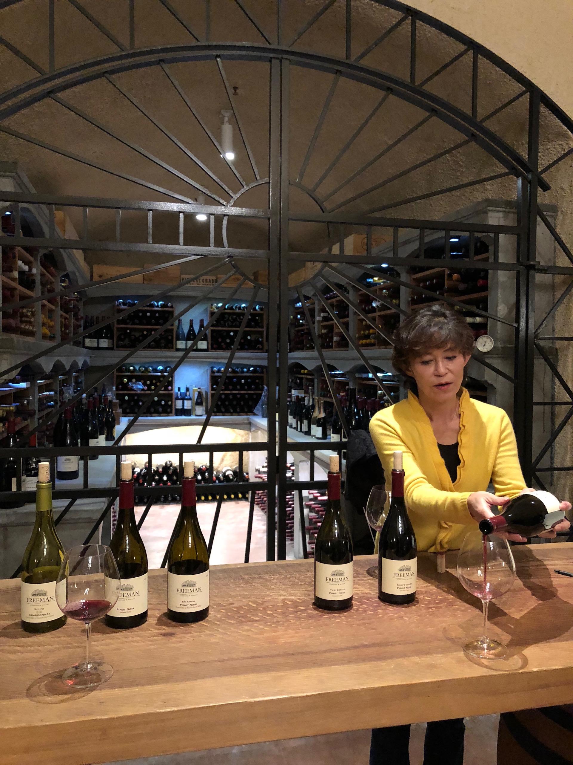 Freeman Winery's winemaker Akiko Freeman at the winery's cave in Sebastopol