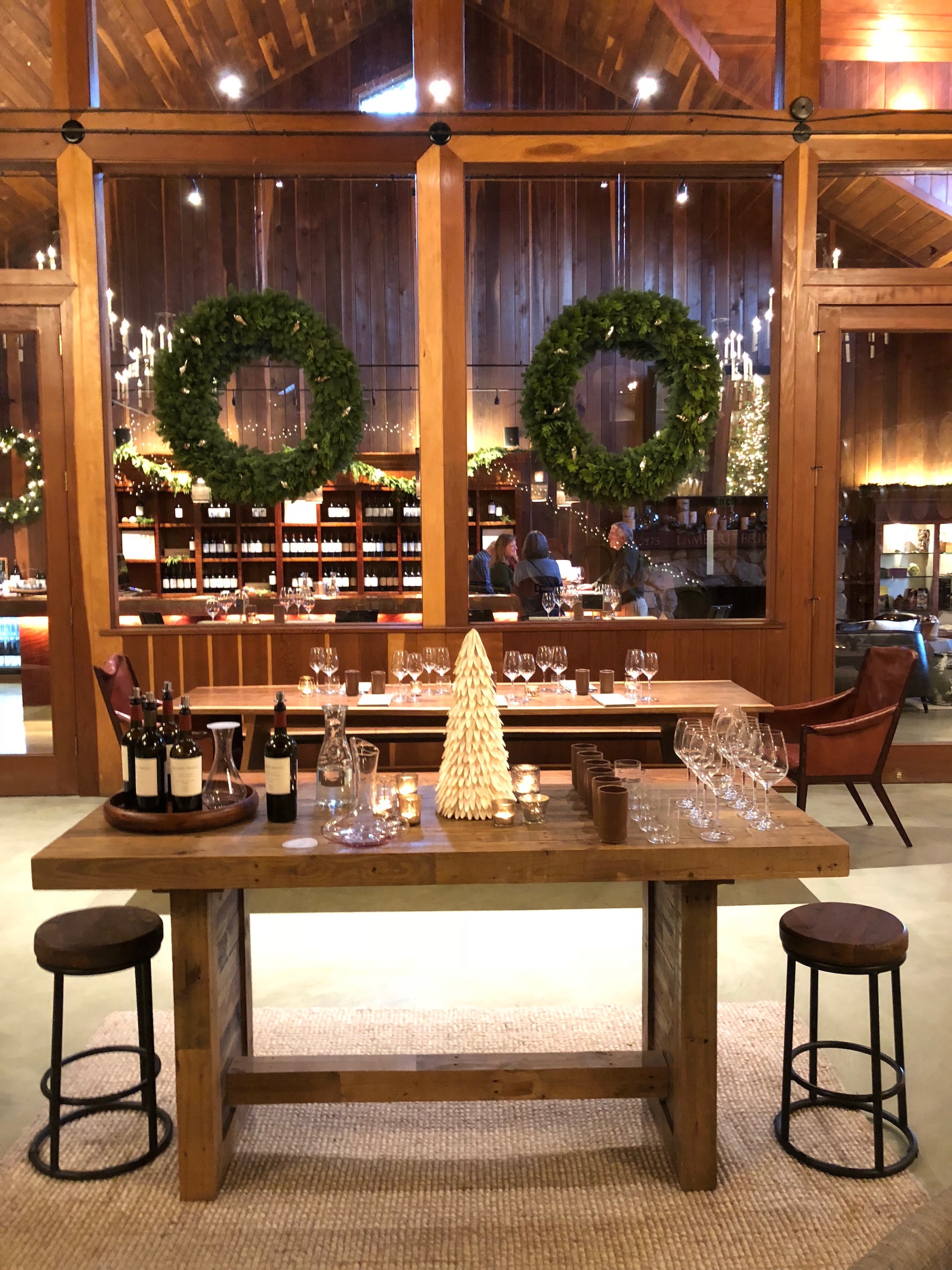 The spectacular and newly revamped Lambert Bridge Winery Redwood Barrel Room, all dressed up for the holidays