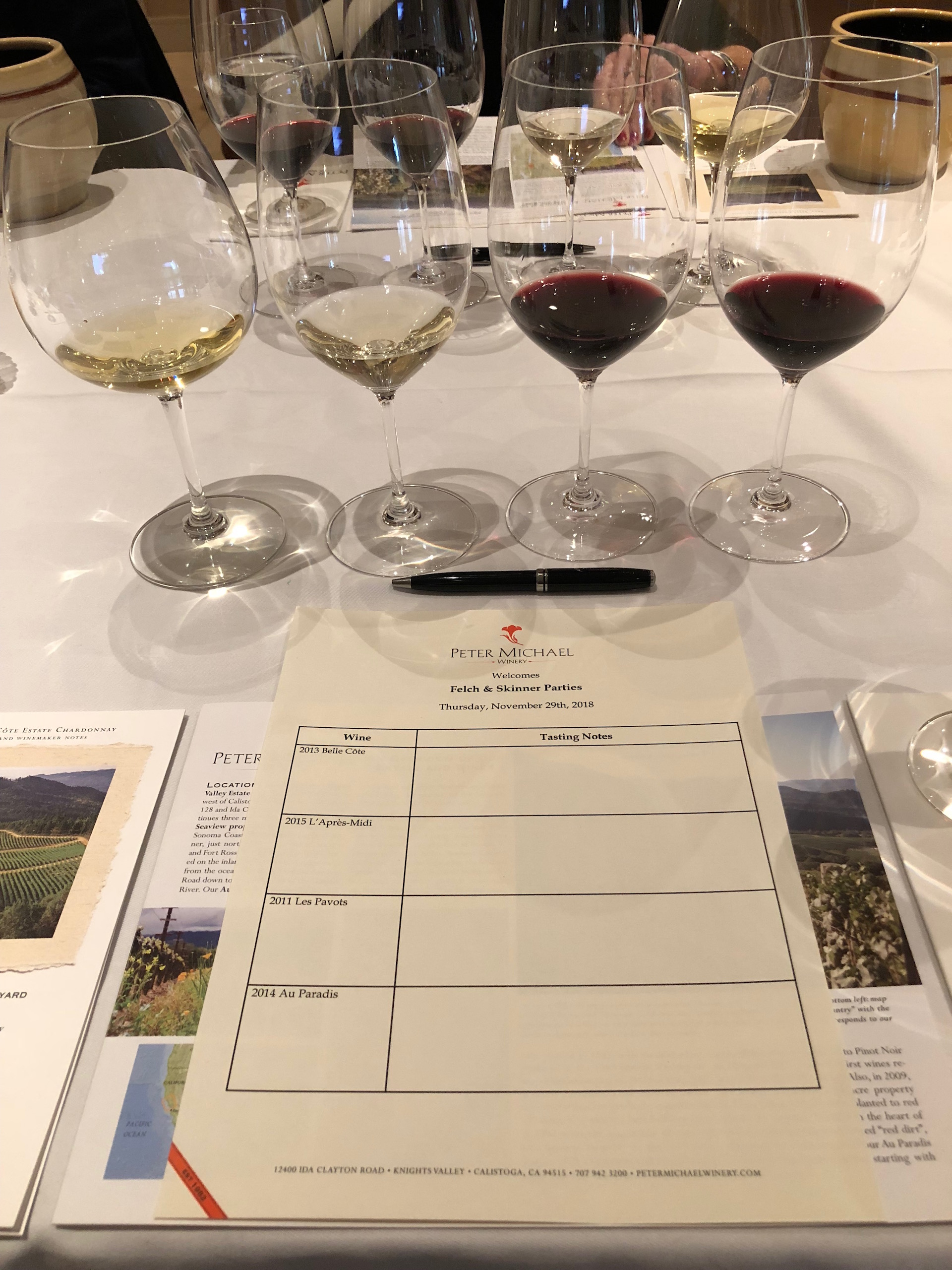 Time for some tasting...and tasting notes...of the Peter Michael wines