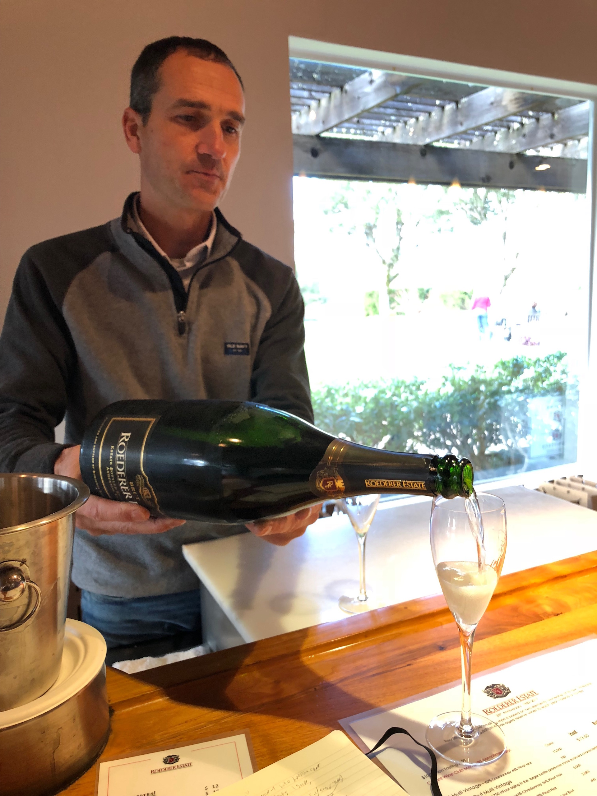 Roederer Estate's winemaker Arnaud Weyrich pours some of the superb Anderson Valley sparkling wine that the winery is known for