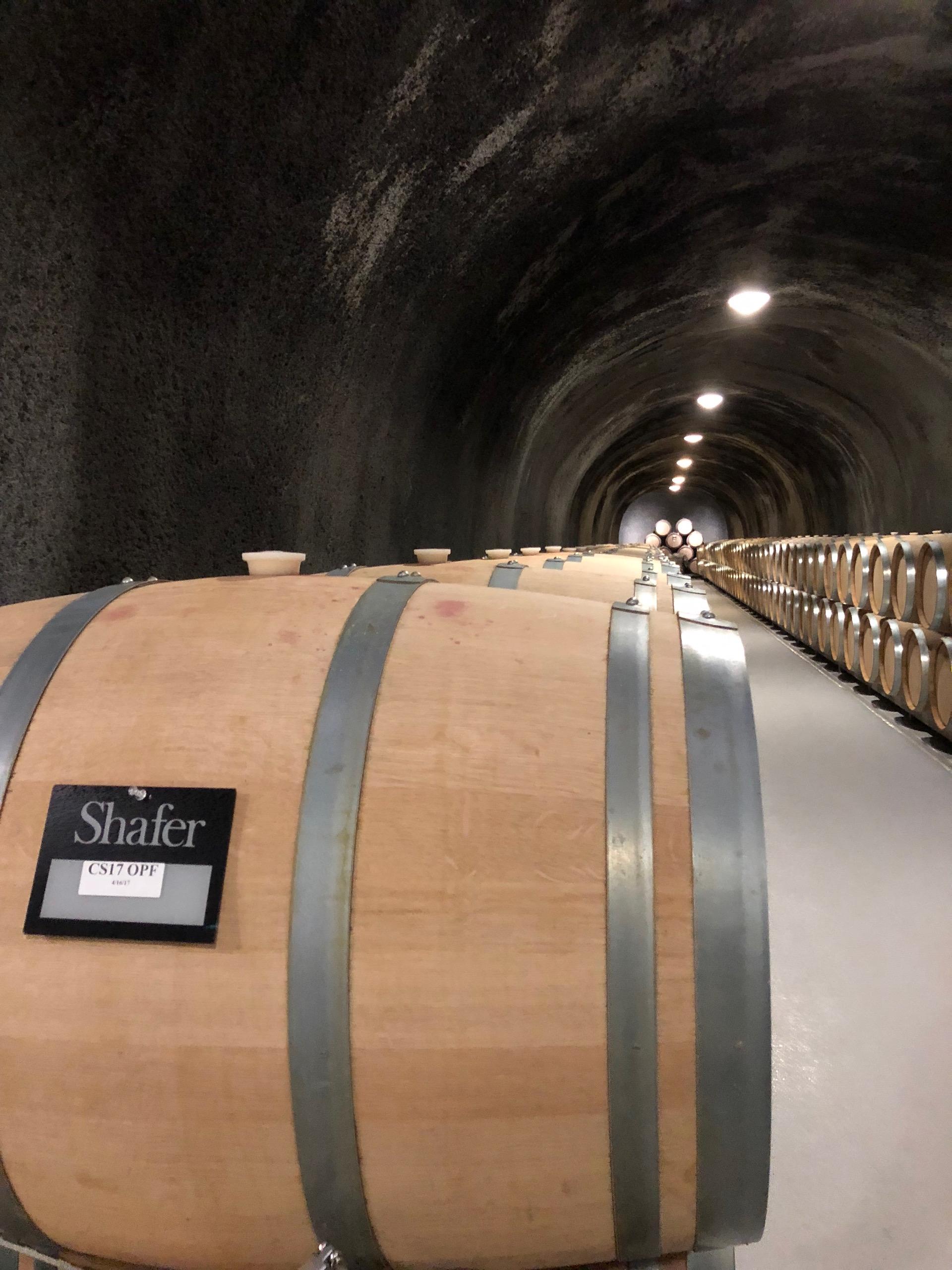 Barrels resting in Shafer Vineyards' sprawling caves