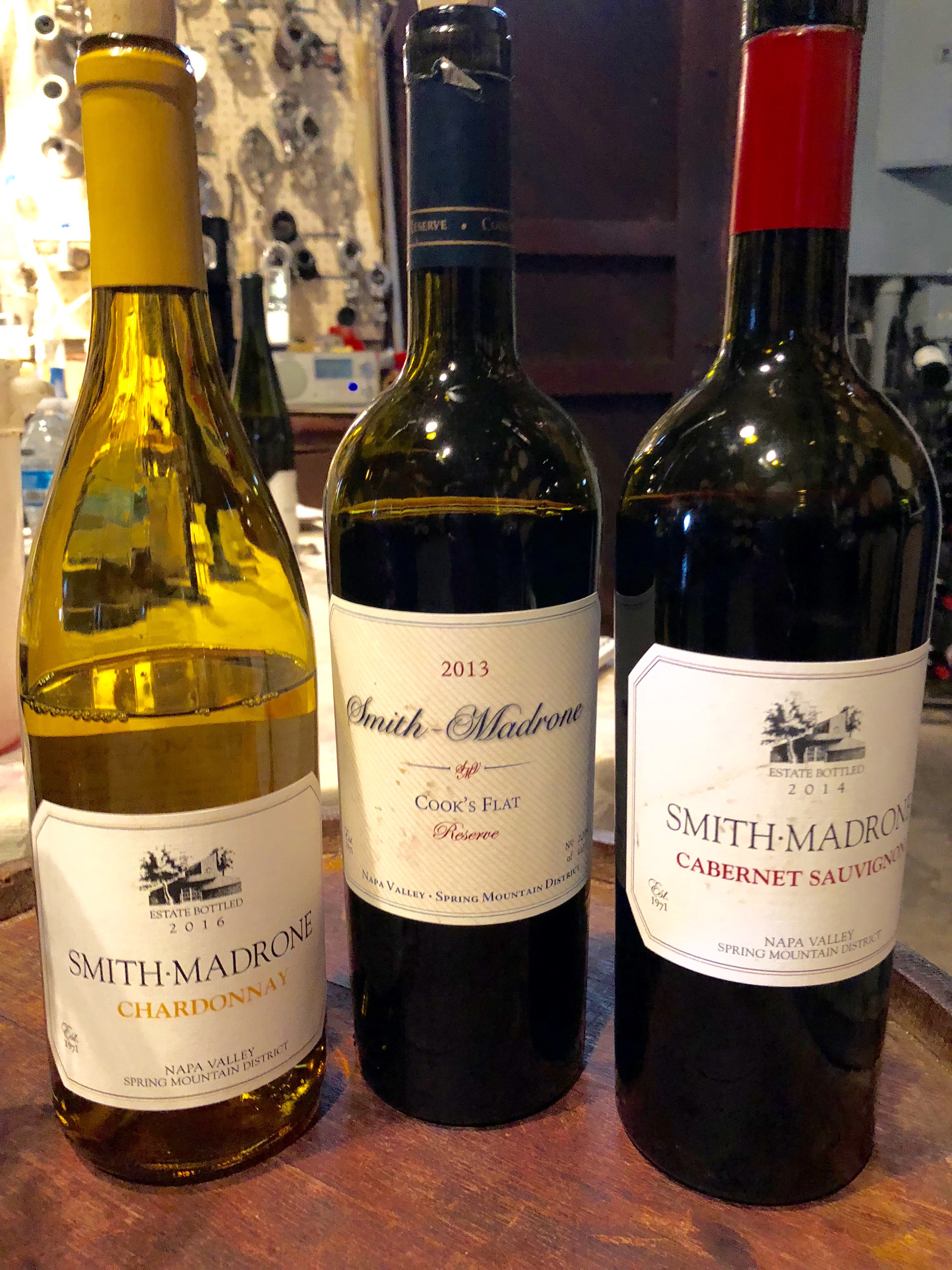 Some of Smith-Madrone's exceptional wines including a 2016 Chardonnay, 2013 Cook's Flat Reserve and 2014 Cabernet Sauvignon