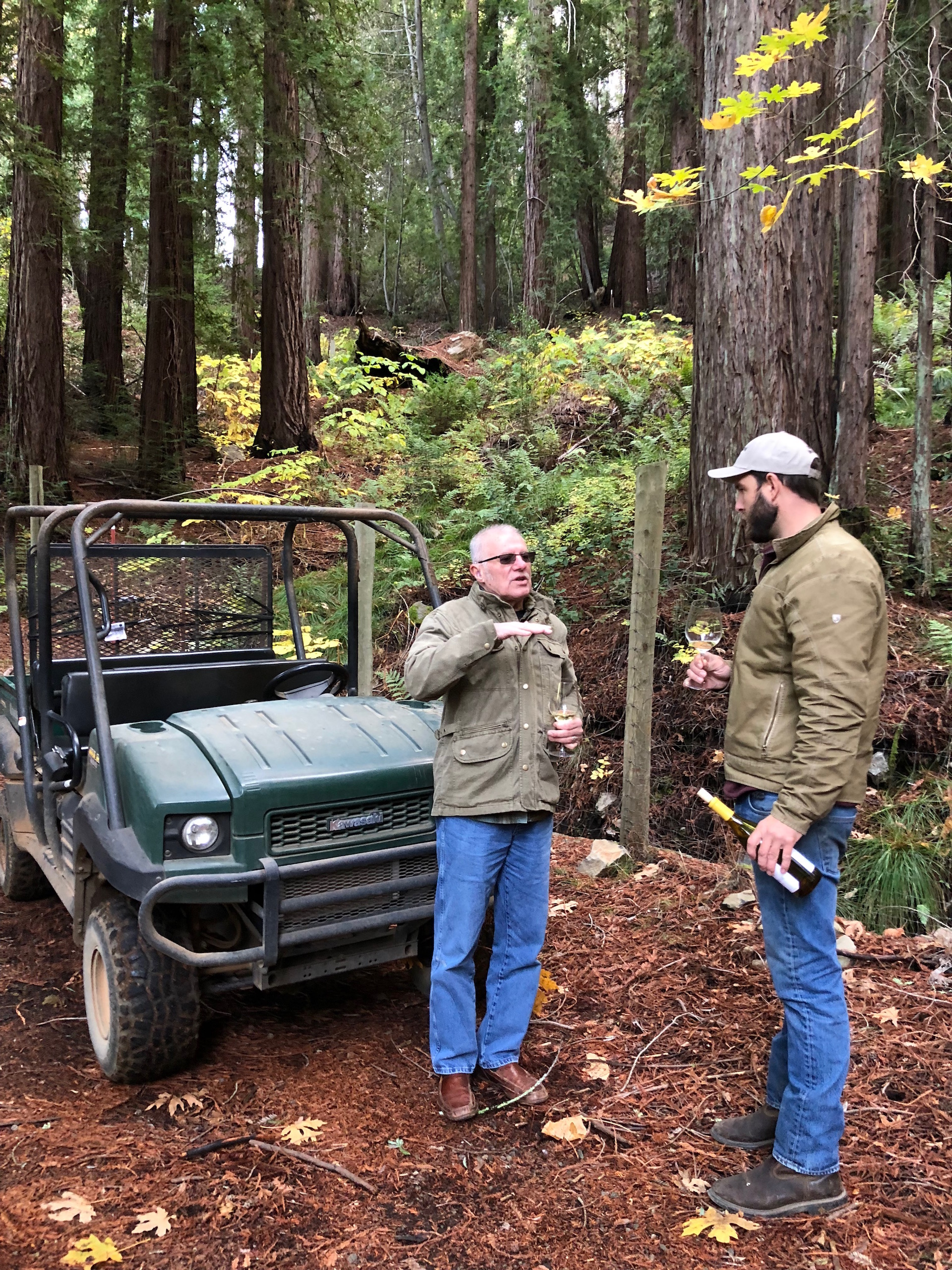 John and Smith-Madrone Vineyard & Winery's Assistant Winemaker Sam Smith discuss wine and off-road vehicles in the redwood forests of Spring Mountain