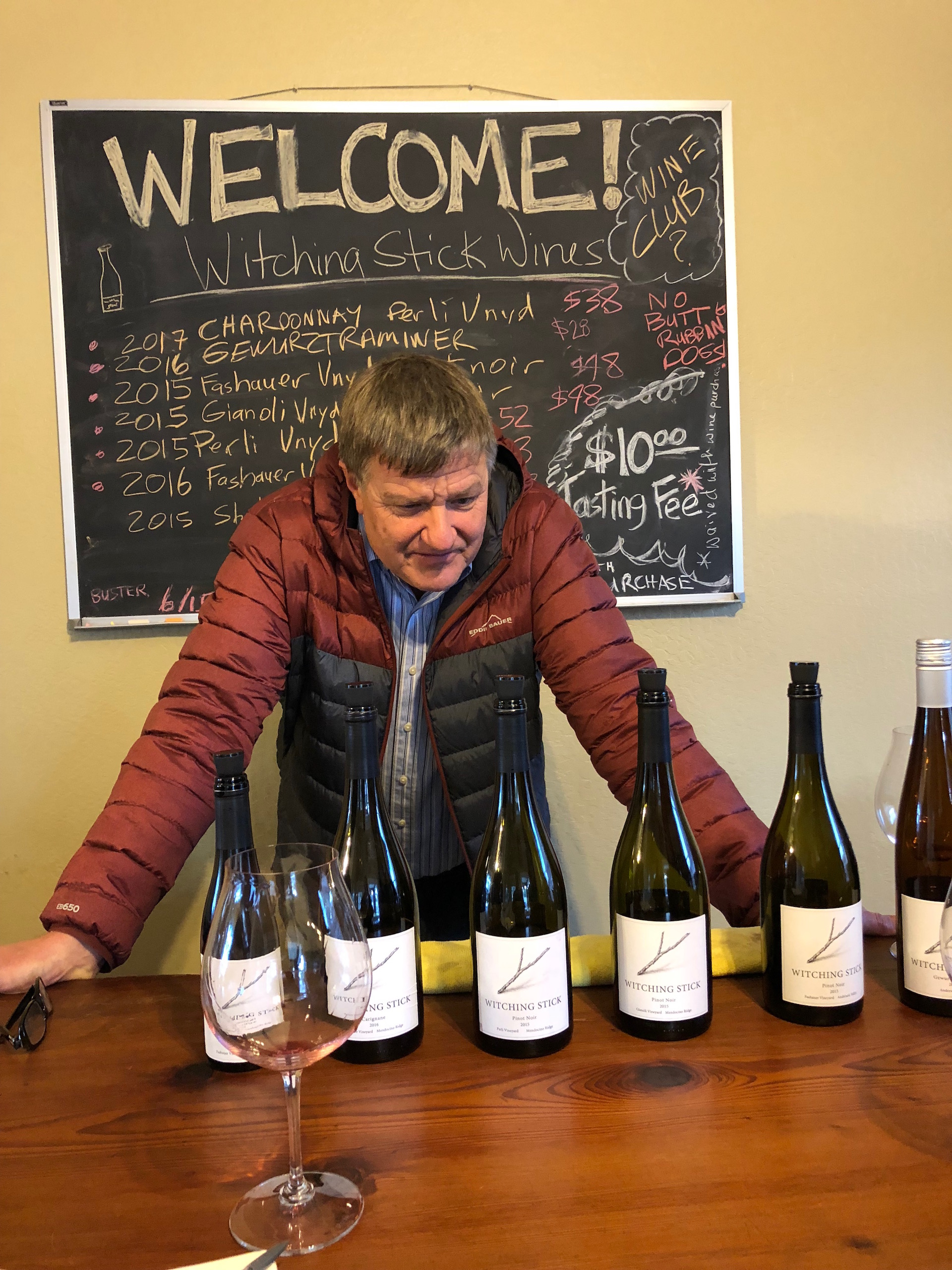 Witching Stick Winery owner Van Williamson presents his wines and offers decades of wine industry knowledge