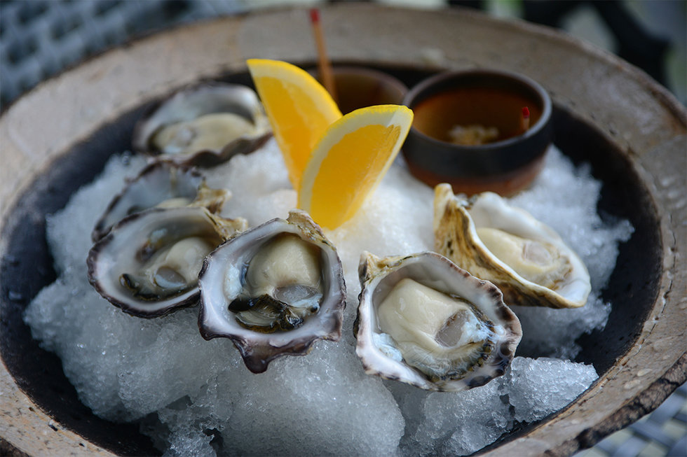 Kumamoto oysters with sansho mignonette and kanzuri.