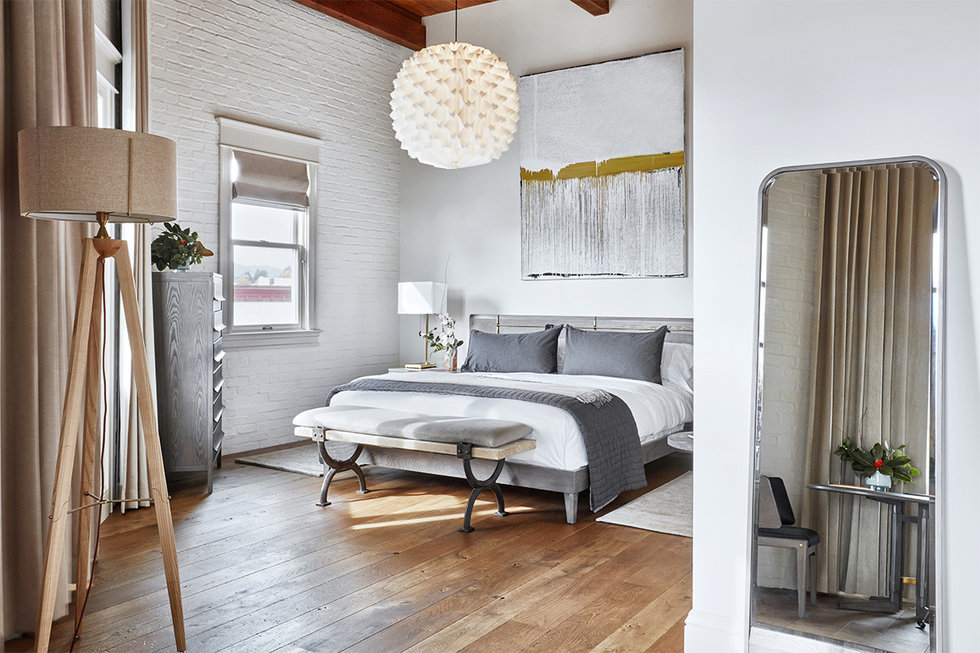 The interior design of SingleThread's guest rooms (including the master suite shown here) was a collaboration between Kyle and Katina Connaughton and their friends at the firm AvroKO.