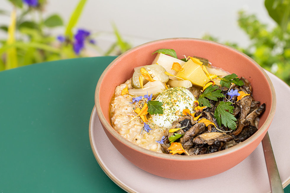 Their Japanese inspired porridge comes with a mushroom conserva, a few pickled veggies, and a soft-boiled egg.
