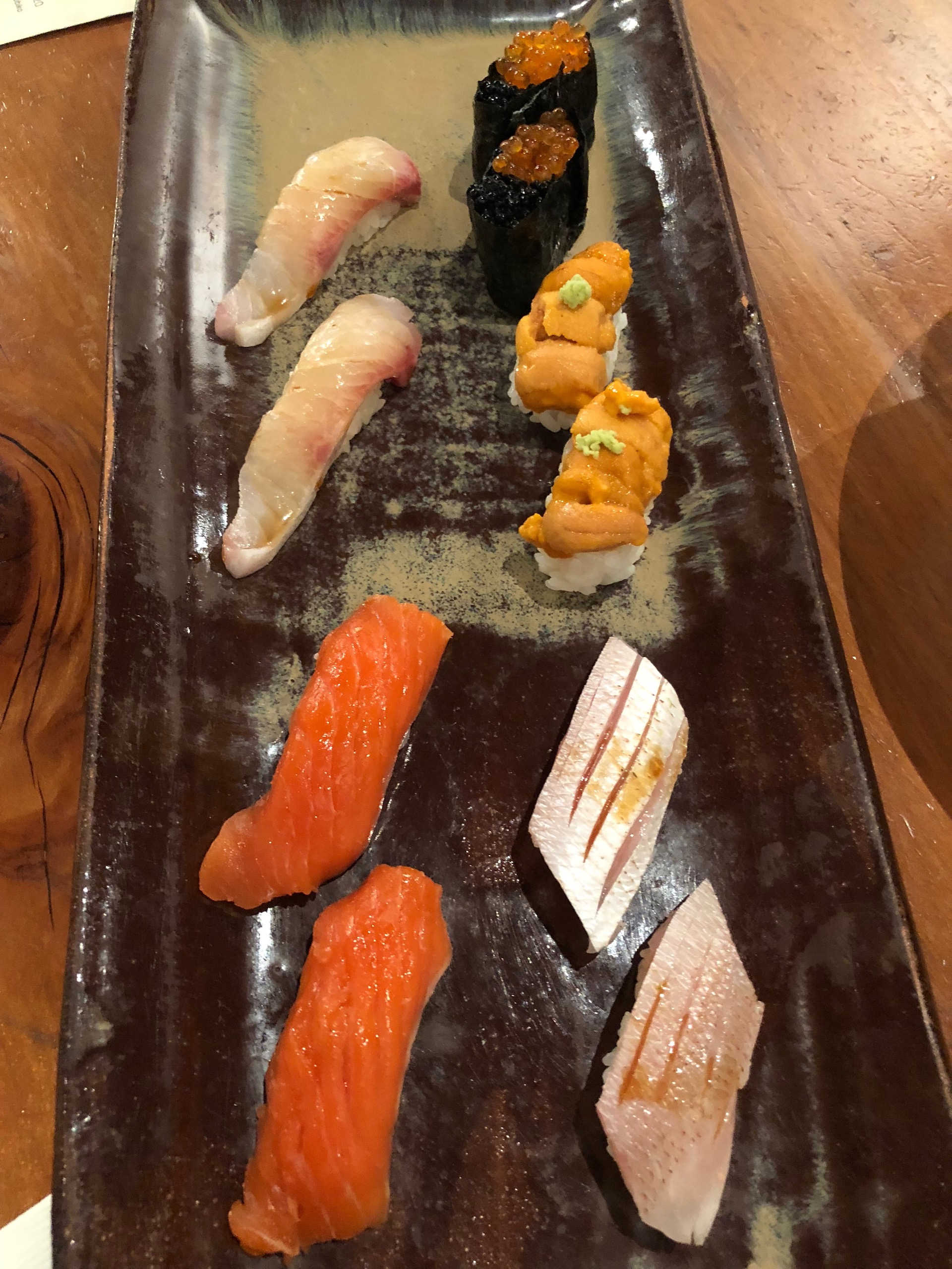 Celebrity Dining: An assortment of nigiri specials at Gintei.
