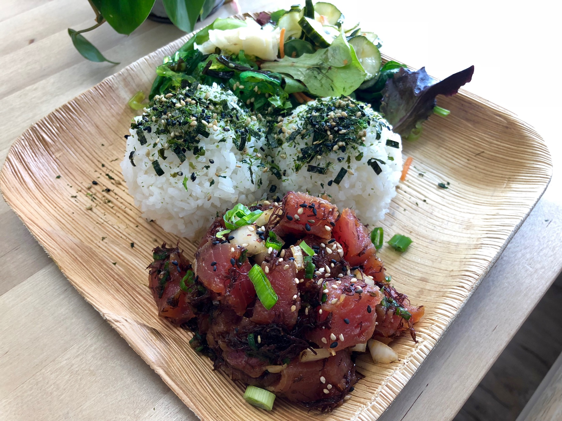 Celebrity Dining: A 'classic shoyu' ahi poke rice plate at Sam Choy's Poke to the Max in San Bruno.