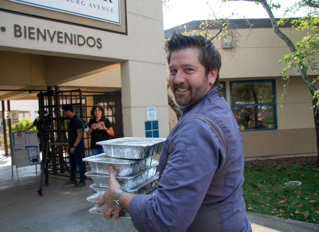 Chef Dustin Valette of Valette Restaurant in Healdsburg delivering food to the Healdsburg Community Center.