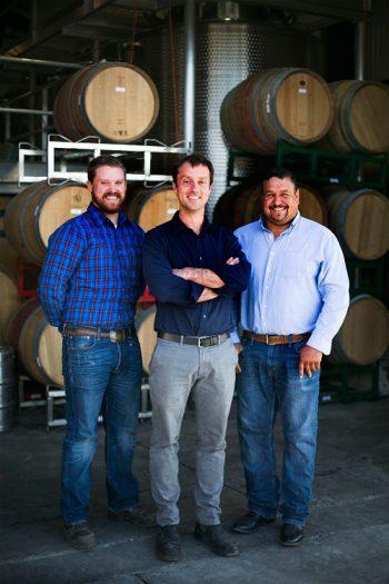Matt Dees (center), with assistant winemaker Drew Pickering (left) and vineyard manager Ruben Solorzano (right).