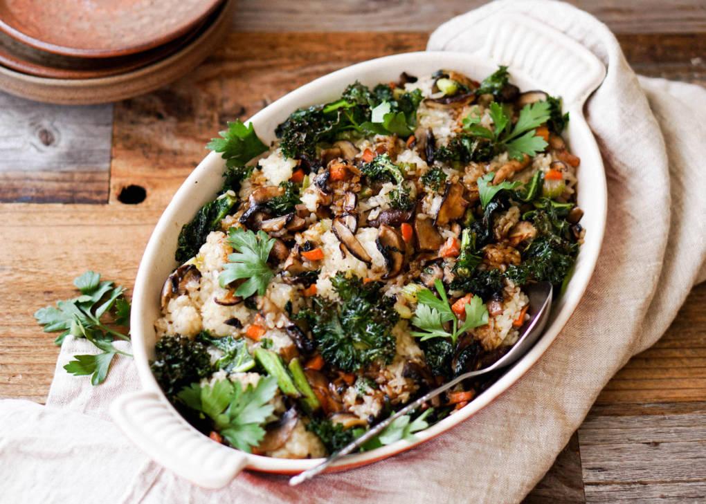 Kale and Mushroom Sticky Rice Stuffing