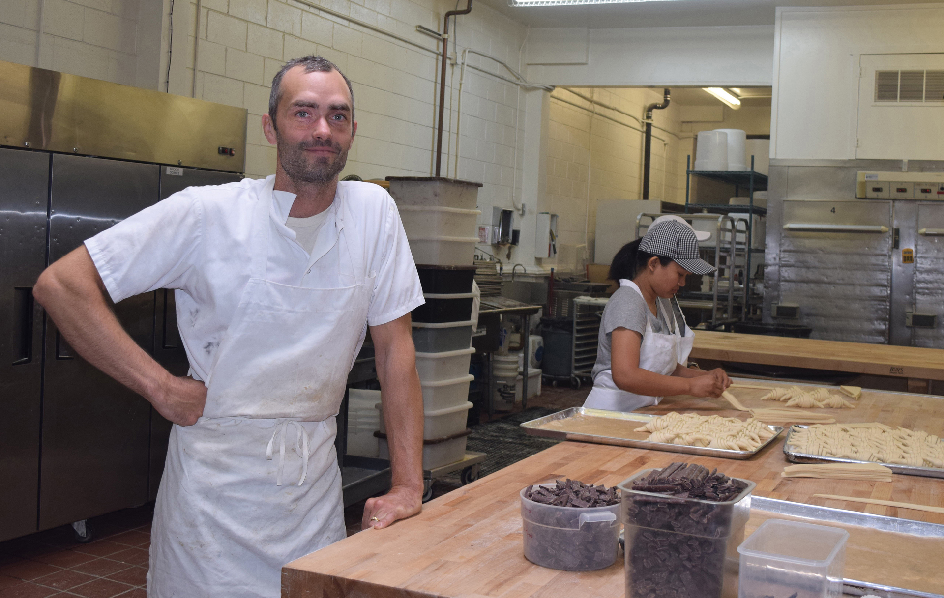 """Mac"" McConnell near the pastry production area in his Mountain View bakery, which is located in Acme's former South Bay digs."