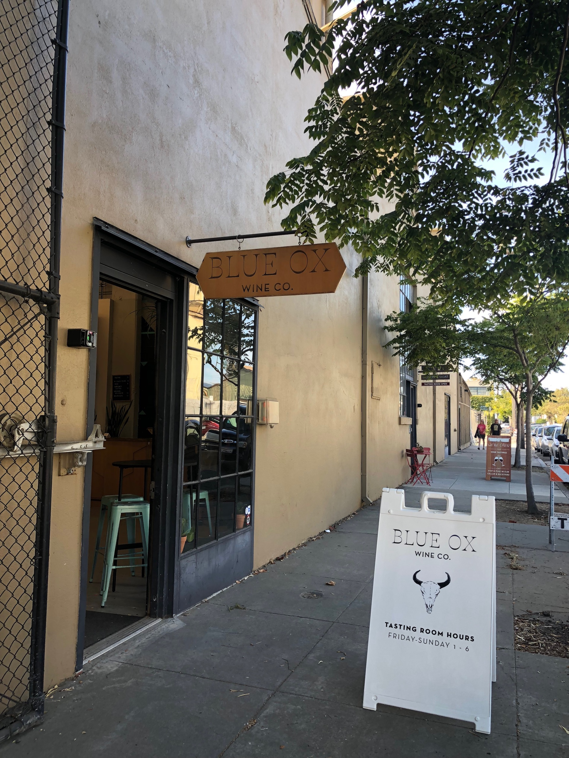 "Blue Ox is located on what has become a sort of ""winery row"" on Berkeley's Fifth Street"