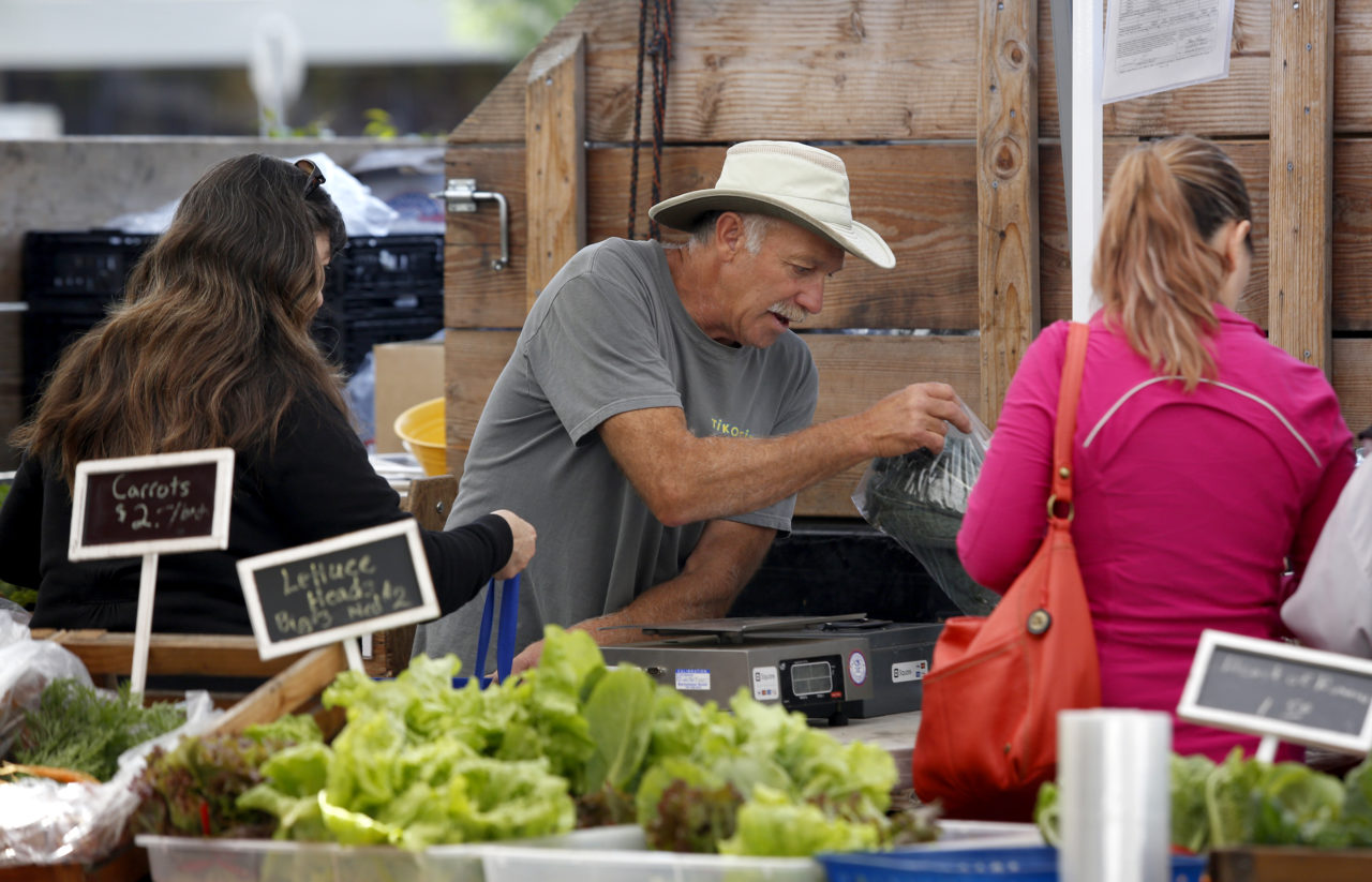 Corrie Leisen of Garden Earth Farm sells food to customers at the Petaluma East-Side Farmers Market at Lucchesi Park on Tuesday, April 28, 2015 in Petaluma, California.