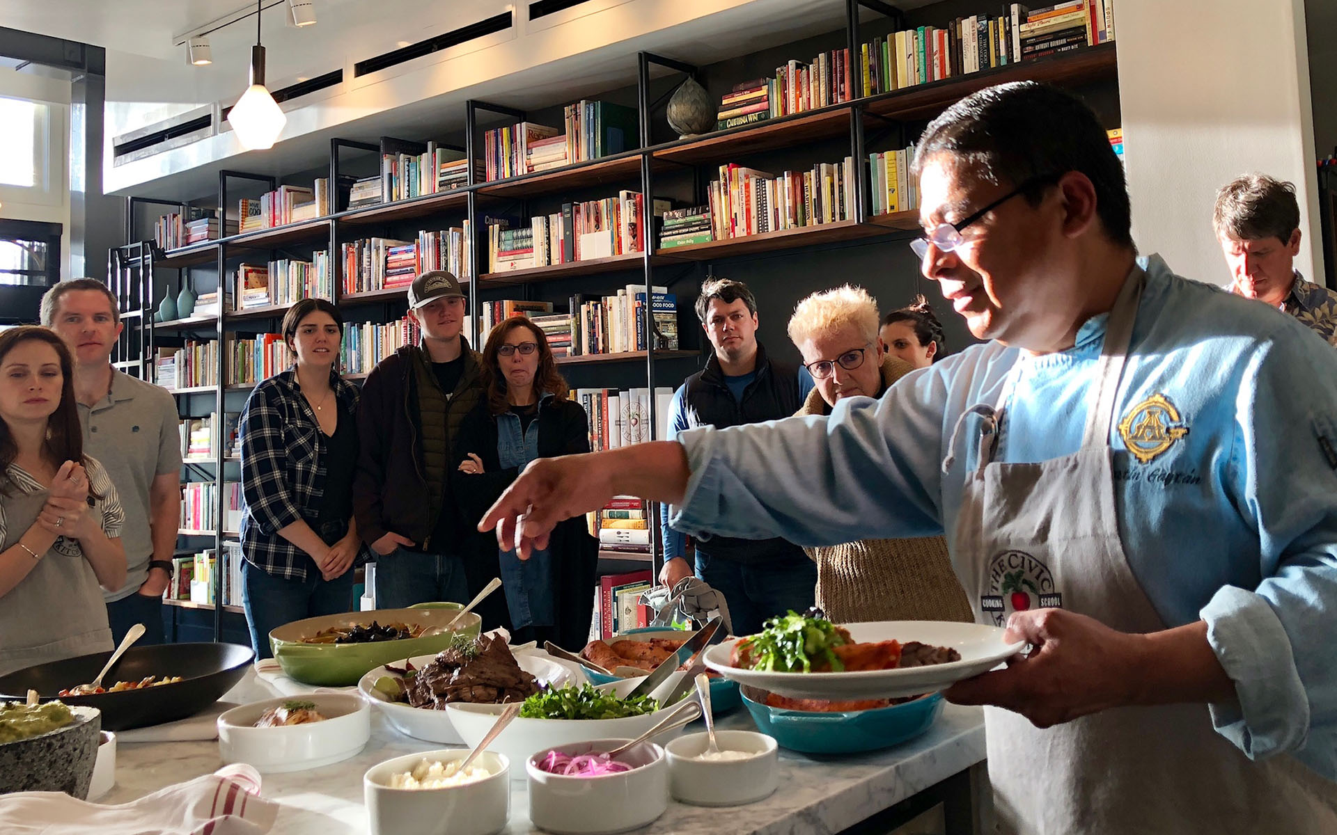 Chef Agustín Gaytán teaches his Mexican Fiesta cooking class.