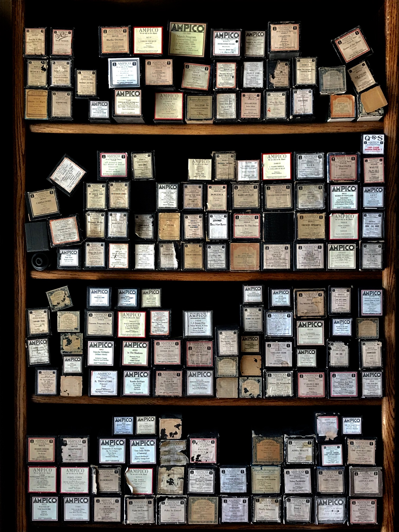Bookcases around the restaurant are stocked with hundreds of player piano rolls.
