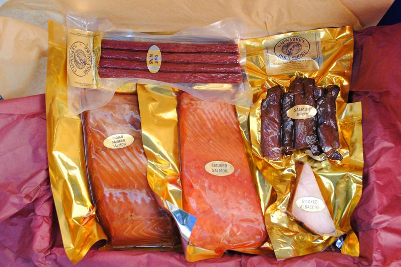 The salmon lover's dream: a gift box from Cap'n Mike's Holy Smoke.