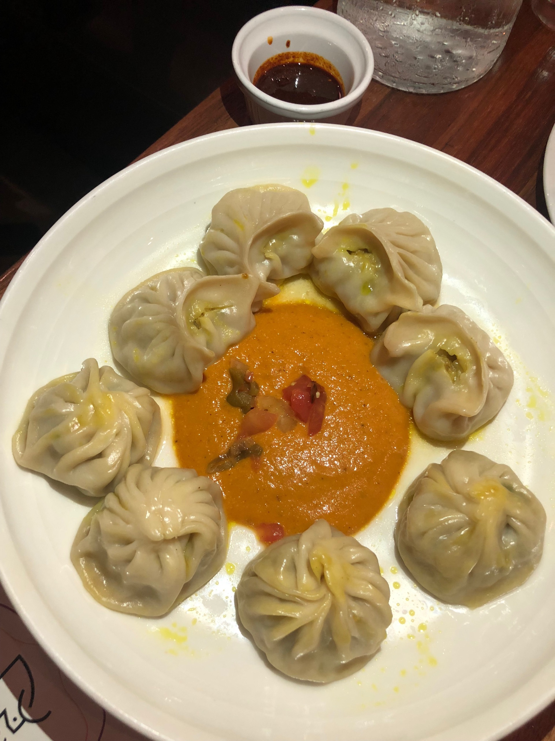 A chicken and vegetable momo platter at the Mission's Dancing Yak