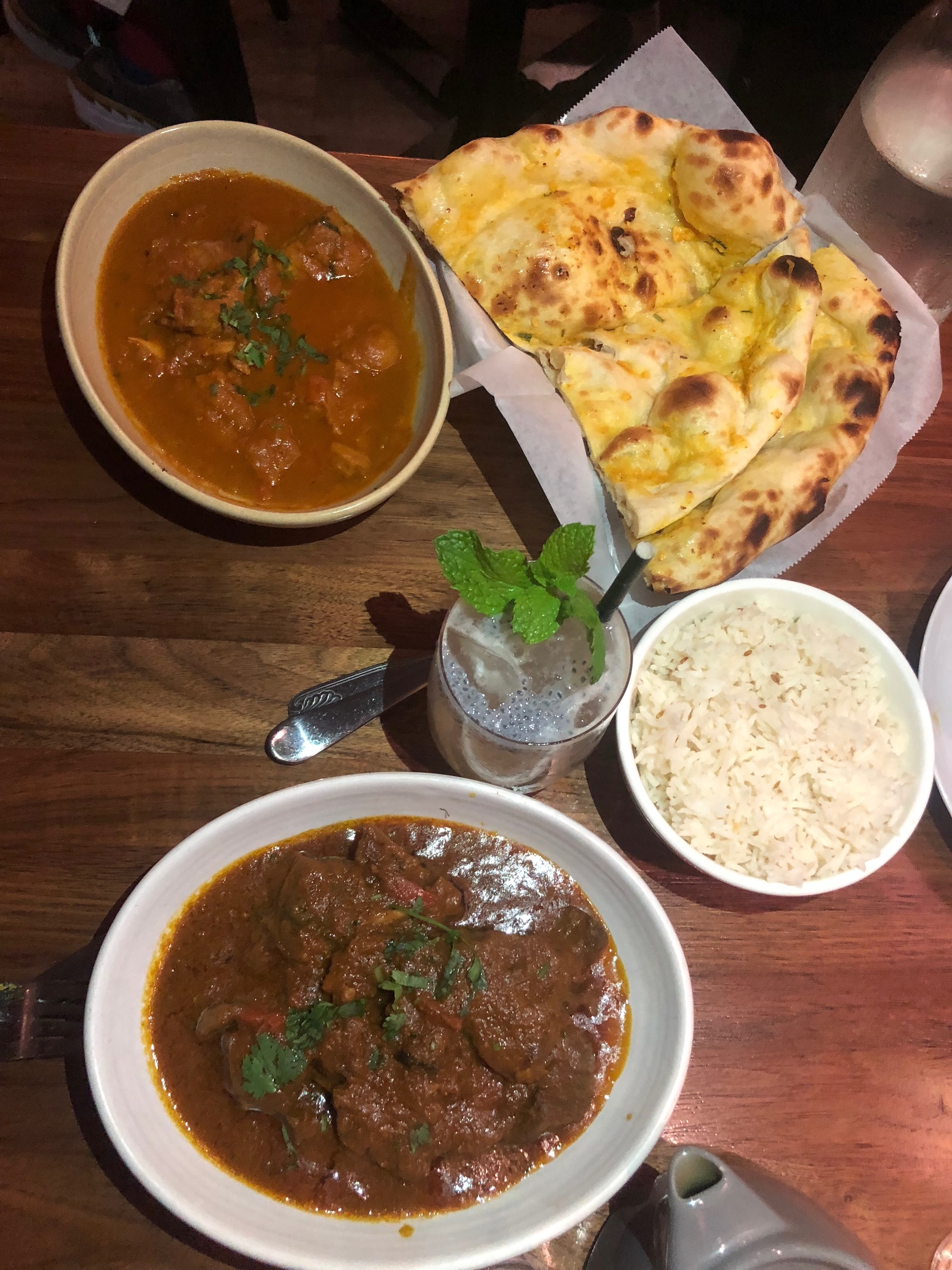 'Dhading chicken,' goat curry and garlic naan at Dancing Yak