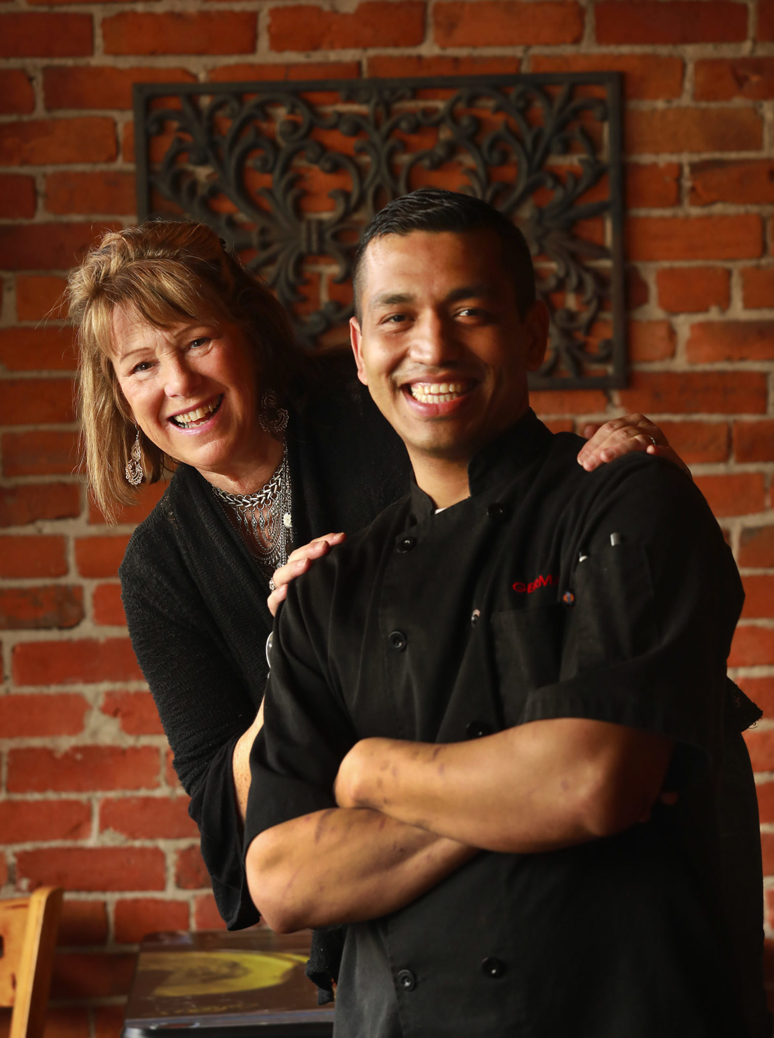 Owner and restaurant designer Shawn E. Hall and her chef German Bacho at the Gypsy Cafe in Sebastopol.