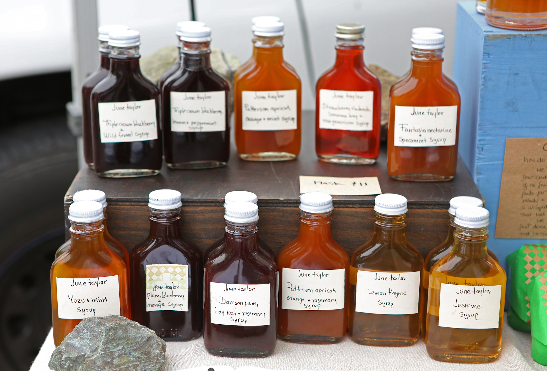June Taylor's unique herbal, floral, and fruit syrups.