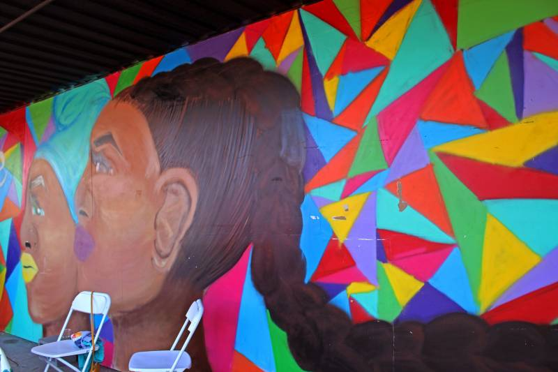 A colorful mural invites customers at the Bayview Bistro.