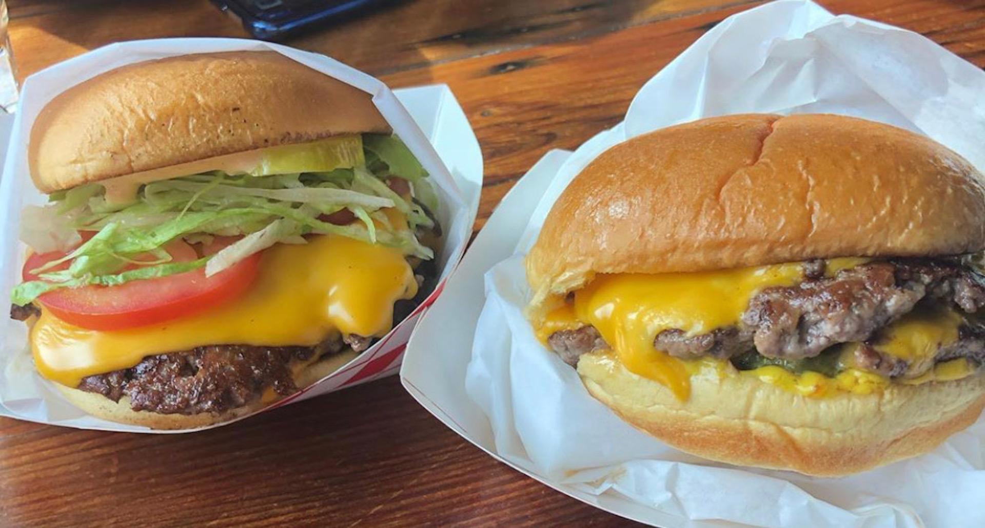 A drive thru burger and an OG burger from Oakland's Lovely's.