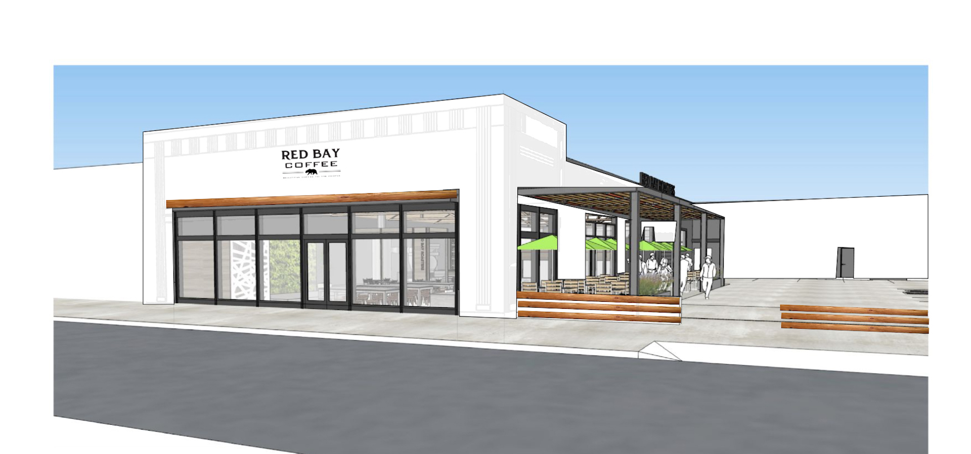 A digital rendering of the Red Bay Coffee space coming this Spring to South L.A.'s Jefferson Park neighborhood