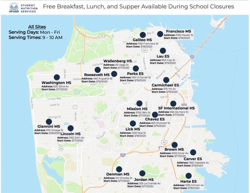 An updated map of grab-and-go sites for school aged students in San Francisco.
