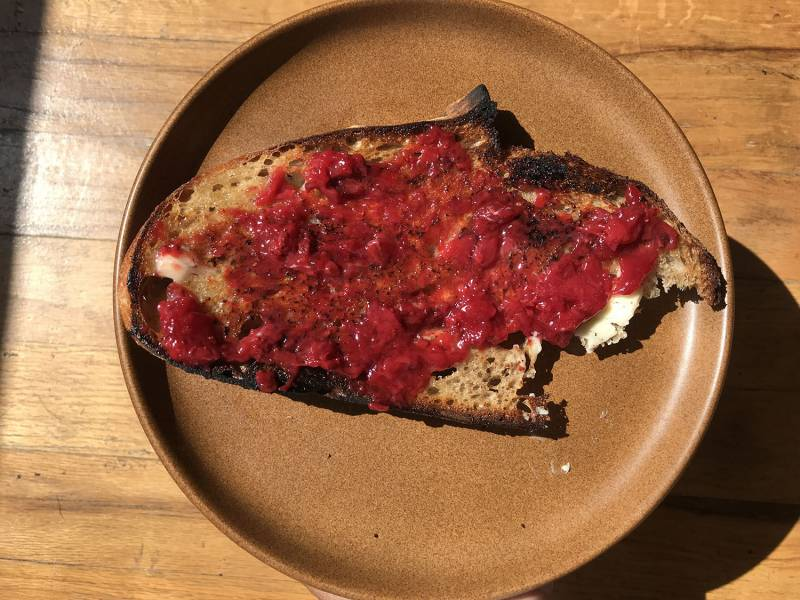 sourdough bread with jam