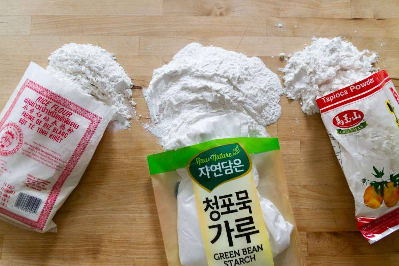 Rice, mung bean and tapicoa flours for making gluten-free Asian noodles