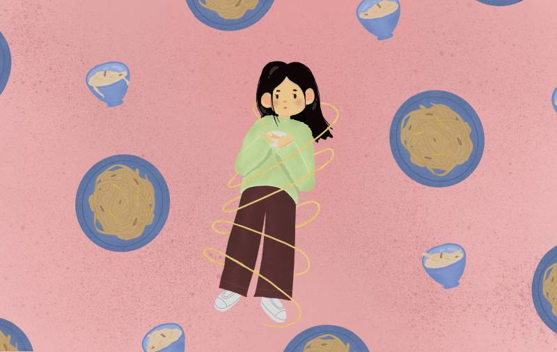 illustration of a woman wrapped in noodles with bowls of noodles around her