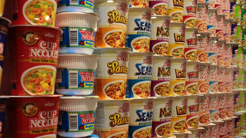 Array of instant ramen noodles