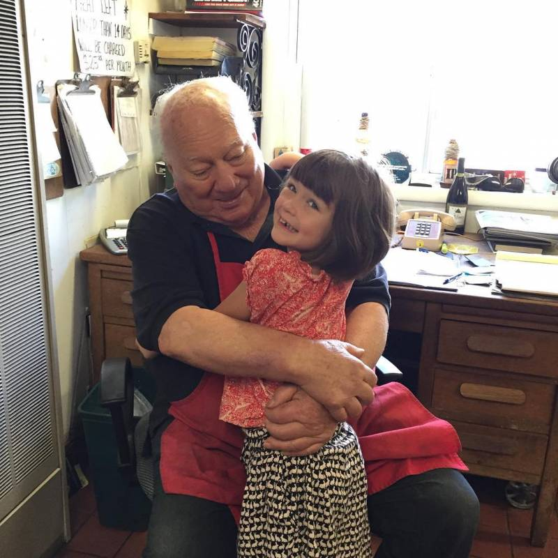 The Pasta King with the author's daughter