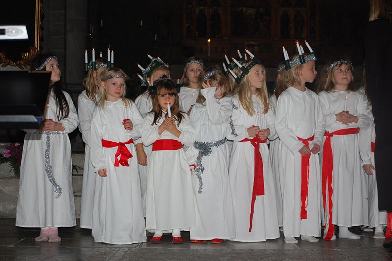 Little girls celebrate St. Lucia's Day.