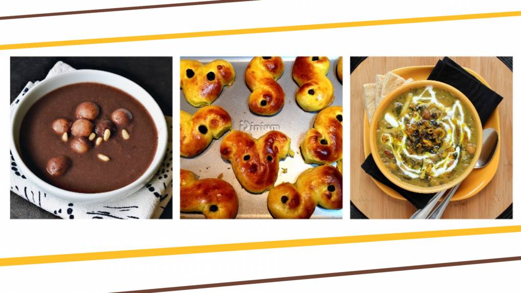 Winter Solstice traditions around the world include (L–R) patjuk bean soup, lussekatt buns and ash soup.