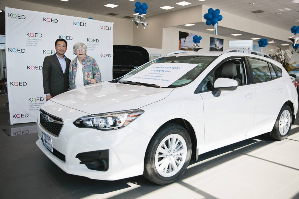 Winner of the KQED winter pledge drive receives a Subaru in Fremont, Calif., Friday, March 31, 2017. Photos by Alison Yin