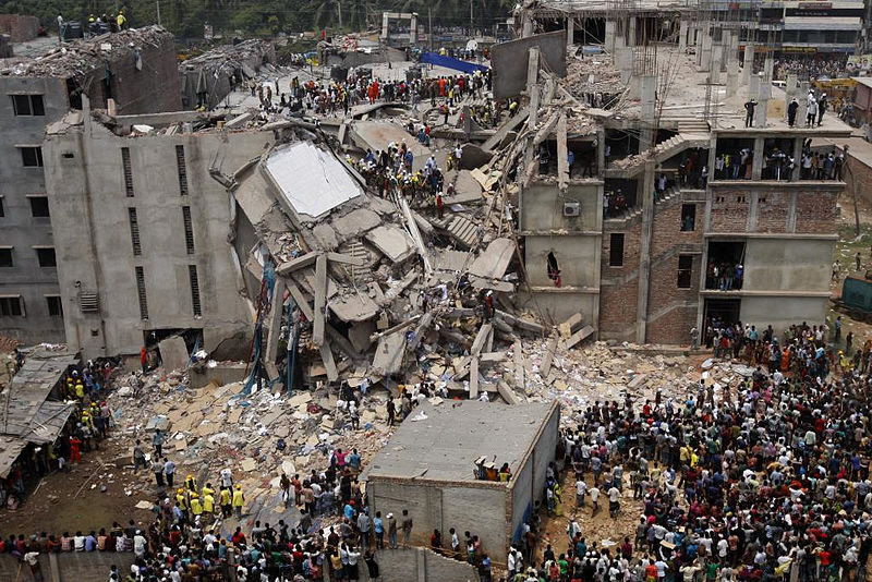 The collapsed Rana Plaza in Bangladesh, where more than 1,100 garment workers were killed in 2013. (Wikipedia)
