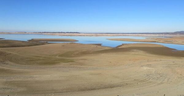 A parched Folsom Lake,  at less than 20 percent of capacity (photo courtesy of National Weather Service).