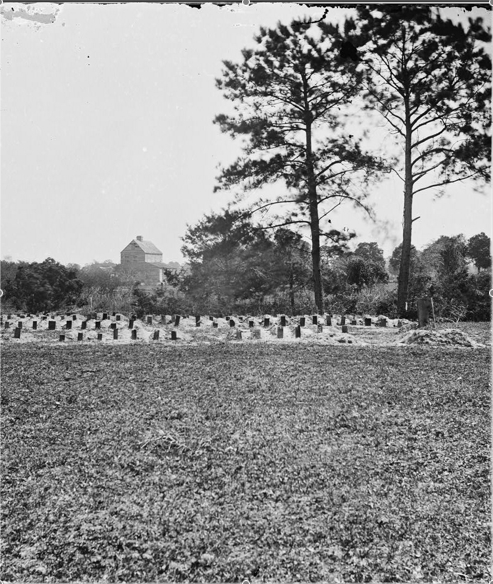 Union soldiers' graves at Washington Racecourse, 1865.
