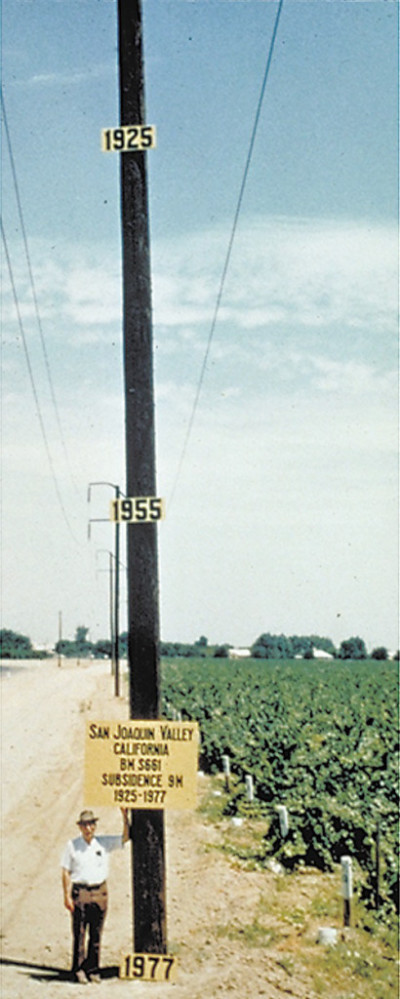 Joseph Poland of the U.S. Geological Survey used a utility pole to document where a farmer would have been standing in 1925, 1955 and where Poland was then standing in 1977 after land in the San Joaquin Valley had sunk nearly 30 feet.